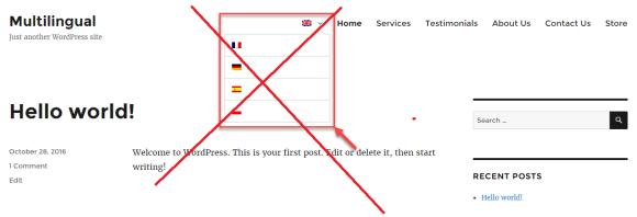 Exportar online selector de idiomas con banderas no recomendado